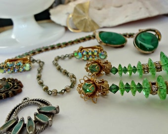 Greens and Golds / Vintage Jewelry for Assemblage / Bouquet Filler / Altered Art Pieces  (D2)