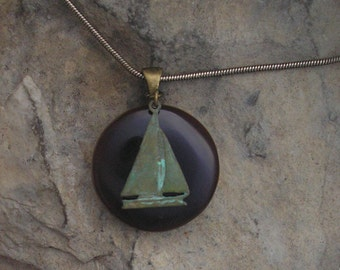 Verdigris Sailboat Necklace Fused Glass Boat Pendant