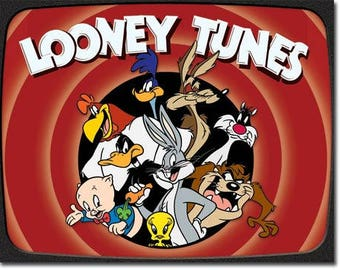 "Looney Tunes metal sign bugs bunny Taz Tweety  Daffy Duck road runner 12 1/2"" X 16"""