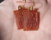 Vintage Carved Carnelian Caramel Jade Etched Glass Gold Pierced Earrings Autumn Nature Inspired