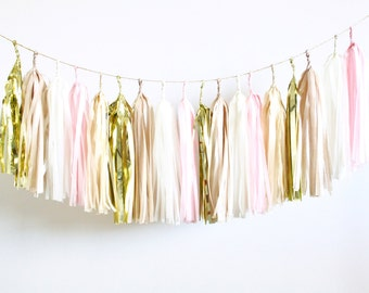 Blush, Champagne, Neutral and Gold Tassel Garland - Baby Shower Decorations, Blush Wedding Decor, Bachelorette Party Banner, Nude and Cream