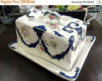 Antique Cheese Dish - Pink Roses and Garlands - Lidded Butter Dish and Plate 7125