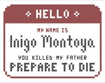 "Original ""HELLO"" Cross Stitch Chart Inspired by The Princess Bride"