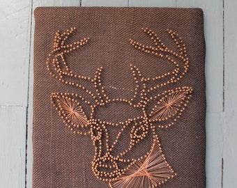 Wall Art... Vintage Deer Nail Art, String Art, Buck, Antlers, Handmade, Wall Hanging
