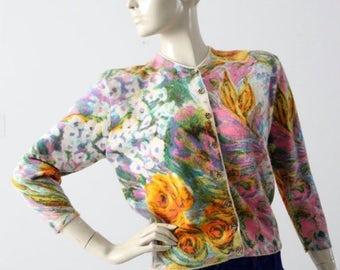 SALE 1960s Ste. Laurent floral cardigan