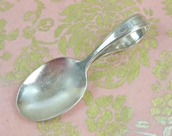 Vintage Baby Spoon - Silverplate Baby Spoon, Curved Handle Spoon, Oneida Silverplate 1921, Grosvenor Pattern, Heirloom Baby Gift, c1920s