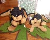 RARE! Retired Ty Beanie Babies Matched Dog Set Doby w/Teenie Doby Doberman