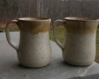 2 Pottery Mugs with Handles White Glaze Brown Rims NC Pottery