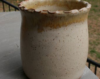 Linen Brown Pottery Utensil Holder Pinched Rim