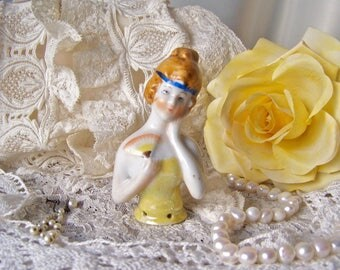 Vintage Half Doll Pin Cushion Doll Boudoir Doll Vanity Doll Porcelain Half Doll Vanity Decor Vintage 1930s