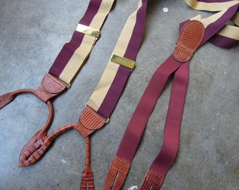 Vtg Gold Burgundy Striped Ribbon and Lizard Leather Braces Suspenders