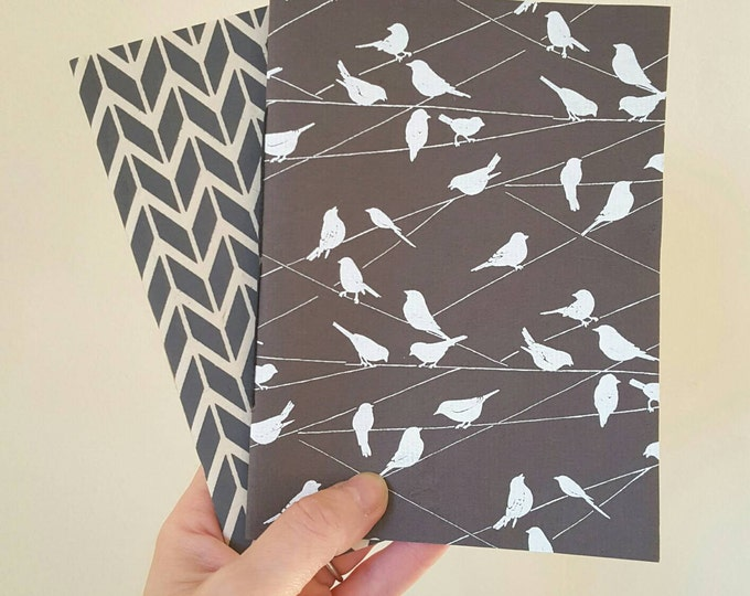 Two Pack of Notebooks - Birds on a Wire and Modern Chevrons - Pocket Notebooks - Cute Gift