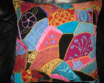Embroidered crazy quilt Pink and Blue Flowers pillow cover. Victorian style 18x18 inches cushion cover