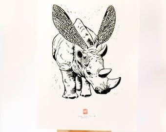 LINOCUT PRINT- Rhinofly