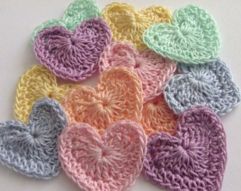 Small Crochet Hearts - 2 of Each Pastel Shade - 12 Total - All Cotton