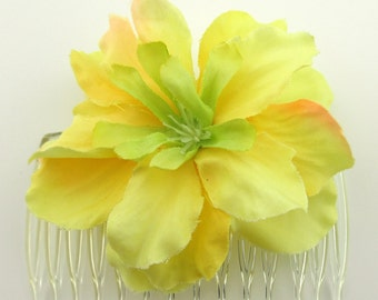 "2.75"" Yellow Peach Apple Blossom Silk Flower Hair Comb"