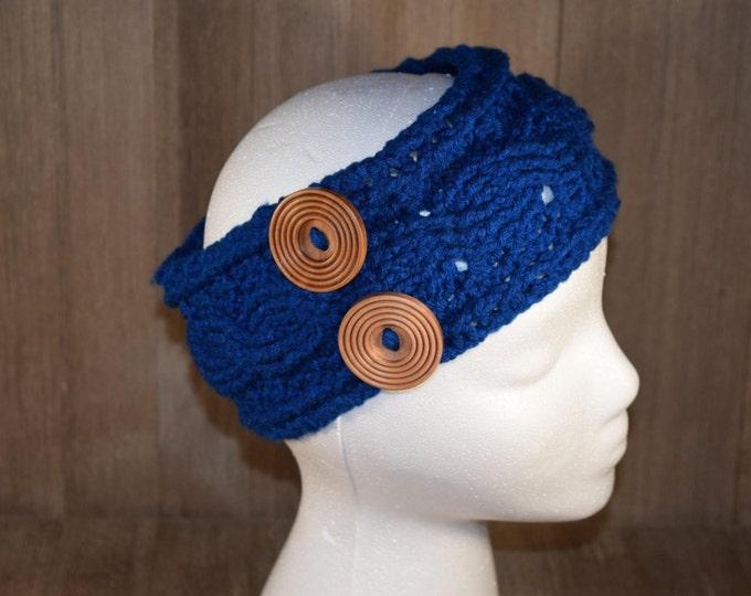 Cable Stitch Crochet Ear Warmer Headband - Peacock