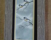 Woodland Chickadees singing on Birch Branches (Framed) 4x8