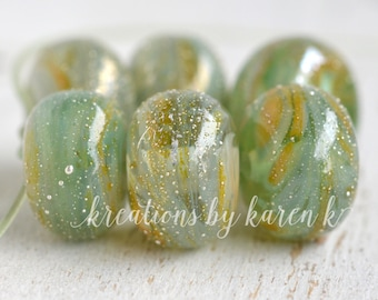 lamp work beads...SRA handmade, pale emerald dusted swirls of lampwork beads, soft colors, beads set of (6) for making jewelry 11117-3