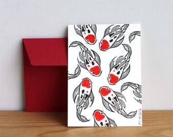 Koi carp postcard with red envelope, hand stamped and painted, signed and dated, red and black fish