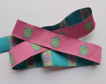 Woven jacquard ribbon turtle pink green  preppy trim