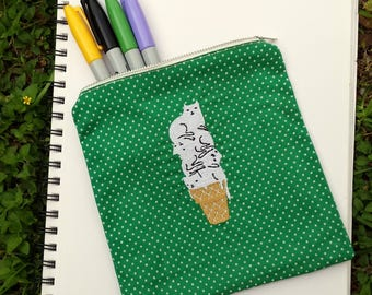 Ice Cream Cat Cone Embroidered Zipper Pouch