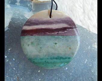 Mookite Jasper,Wave Jasper,White Stone Gemston Round Intarsia Pendant,37x7mm,18.8g(d0309)