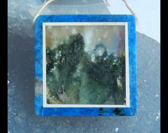 Ocean Jasper, Lapis Lazuli ,White Jade,Obsidian Intarsia Pendant Bead,30x6mm,13.3g(e0539)