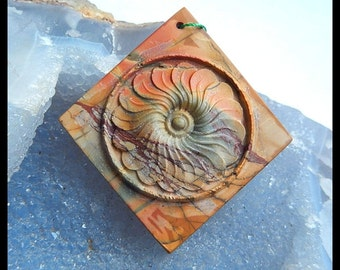 New Design,Carved Multi-color Picasso Jasper Flower Pendant Bead,59x54x7mm,20.0g