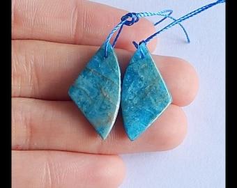 SALE ! Blue Apatite Gemstone Earring Bead,25x13x4mm,3.4g