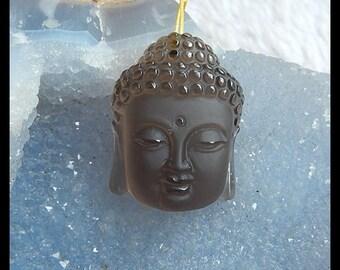Carved Natural Smoky Quartz Buddha Head Pendant Bead,34x25x13mm,18g