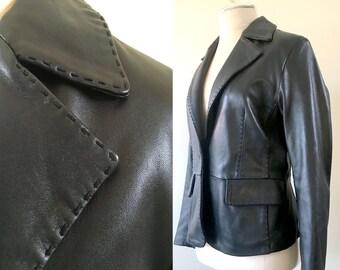 Stitched Black Leather Jacket Vintage Genuine Leather Blazer Petite Small