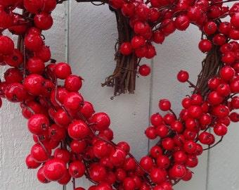Heart Wreath   Valentine Wreath  Valentine Gift   Valentine Heart Wreath  Red Berry Wreath  Wedding Wreath  Hand Crafted Wreath  Door Wreath