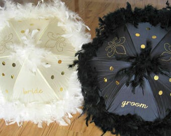 Second Line Wedding Umbrellas BRIDE and GROOM CREAM- set of 2 umbrellas- Medium size- bride groom gold painted parasol wedding parade ivory