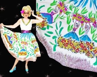 Big Skirt Dress - 50s Style Summer Dress - Womens Vintage Sun Dress with Sequins - Big Skirt Vacation Dress - Retro Summer Resort Wear Dress