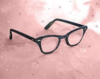 40s Cateye Glasses, Horn Rim Cateyes, Vintage Cat Eyeglasses, Square Hornrims, Dark Grey Cateyes, 1940s Eyeglasses, Rockabilly Girl Glasses