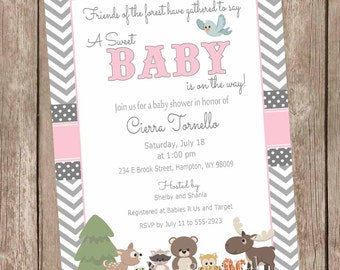 Pink and Gray Woodland Forest Baby Shower Invitation, forest and friends baby shower invitations, chevron, printable invitation