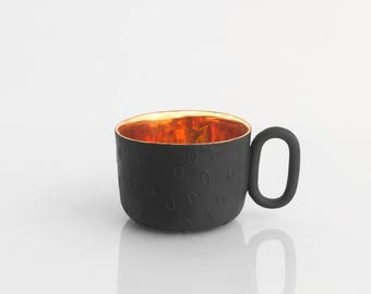 Black Porcelain cup gold inside - delicate ceramic mug for coffee or tea, luxurious handmade gift