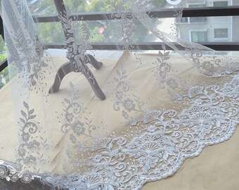 0.91X1.35 meter wide ivory beads sequins tulle gauze bridal wedding dress fabric lace embroidery veil cloth clothing YH49AQ41124KX free ship