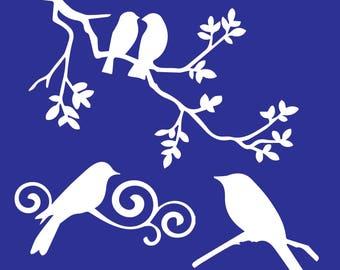 branch birds stencil
