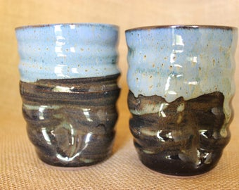 Ceramic tumbler, dented pottery cup, stemless wine glasses, wheel thrown