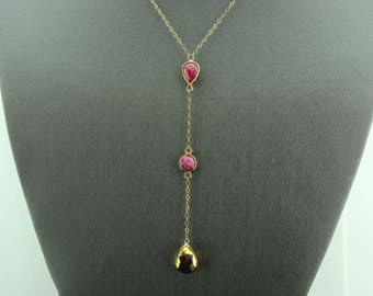 Ruby and Golden Pyrite 14k Gold Filled Gemstone Y Necklace