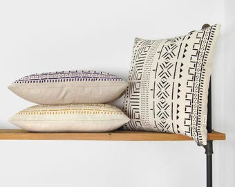 18x18 or 20x20 Personalized Mudcloth Pillow Case | Hand Printed African Mud Cloth Decorative Throw Cushion Cover | Ethnic Tribal Bohemian