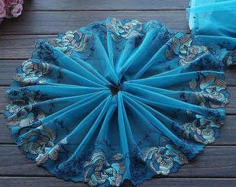 1.75 Yards Embroidered Lace Trim Lakeblue Tulle Lace Trim Lotus Floral Embroidered Lace 7.87 Inches Wide