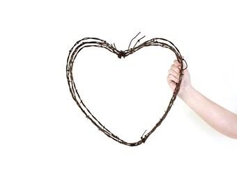 Large Heart Shaped Wreath / wedding wreath . heart wreath . barbed wire wreath . heart decor . heart wall decor . barbed wire heart wreath