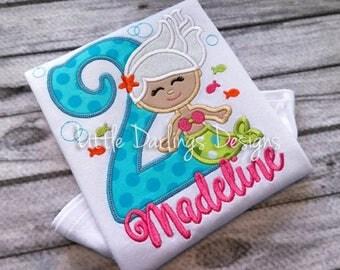 Cute Girls Mermaid Themed Birthday Shirt