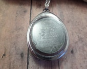 Scottish Coin Necklace, Antique Communion Token In a Clear Locket, Historical Medal Religious Jewelry Perth