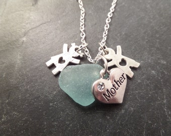 Mothers Boy and Girl Charm Necklace with Light Blue Scottish Sea Glass, Jewelry from Scotland, Mother's Day Gift