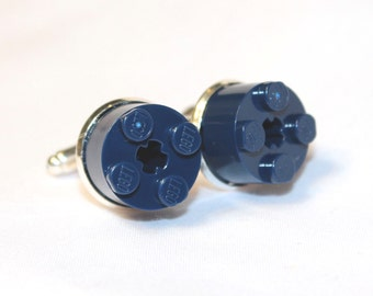 Navy Blue Round Lego Brick Cuff Links - Silver plated