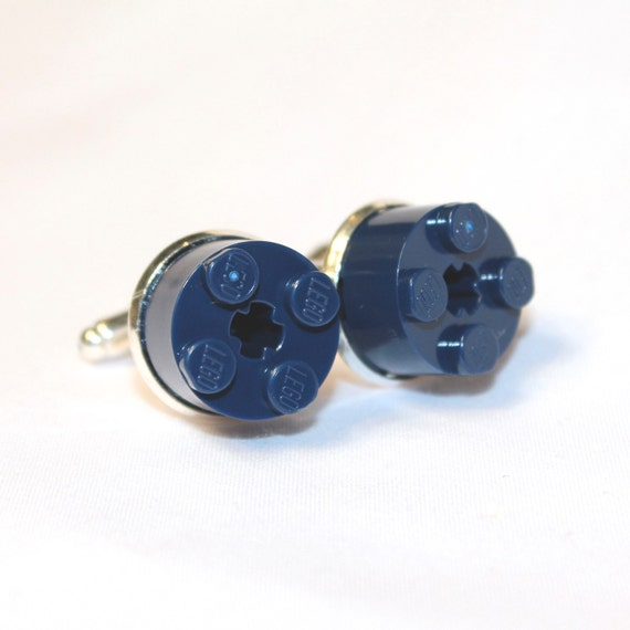 Navy Blue Round Lego Brick Cuff Links - Silver plated
